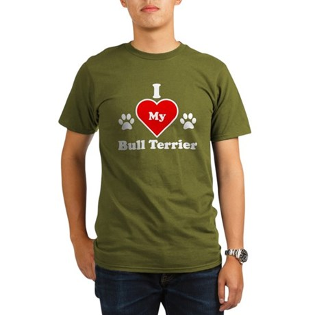 I Heart My Bull Terrier Organic Men's T-Shirt (dar