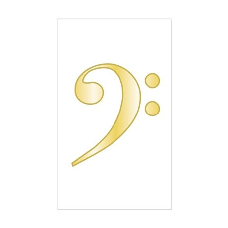 """Gold"" Bass Clef Rectangle Sticker"