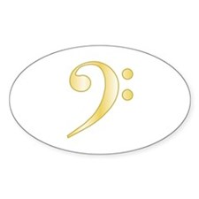 """Gold"" Bass Clef Oval Decal"