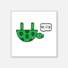 """Upside down turtle Square Sticker 3"""" x 3"""""""
