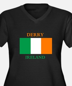 Derry Ireland Women's Plus Size V-Neck Dark T-Shir