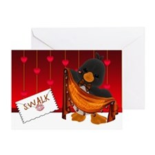 St.Valentine's Day Card, Valentine Penguin Hearts