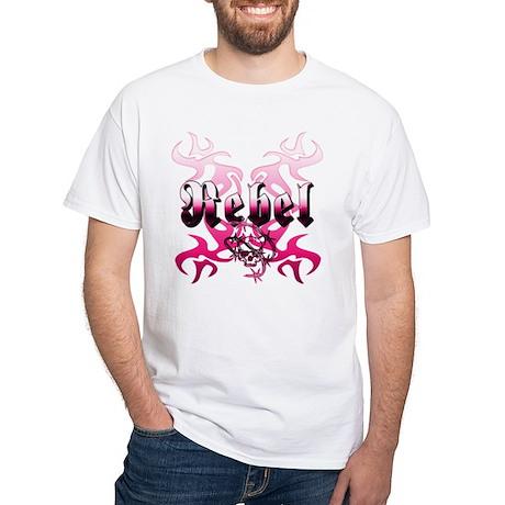 The pink REBEL Skull Tattoo White T-Shirt