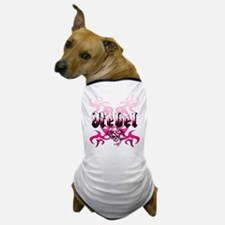 The pink REBEL Skull Tattoo Dog T-Shirt
