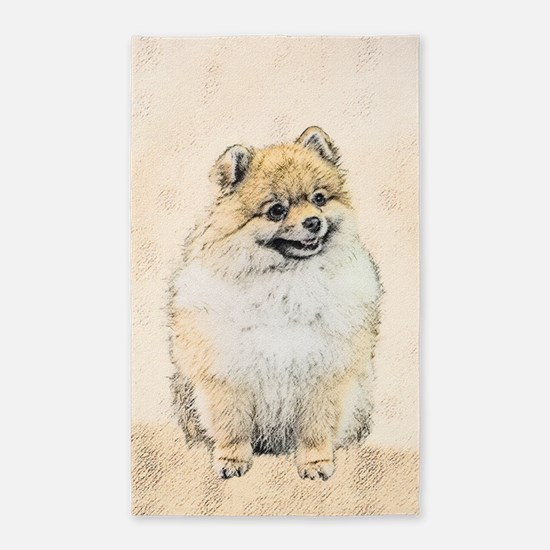 Pomeranian (Orange) Area Rug