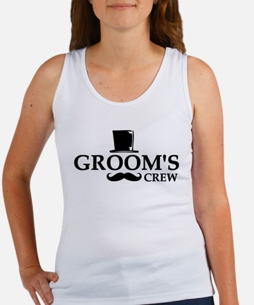 Mustache Groom's Crew Women's Tank Top