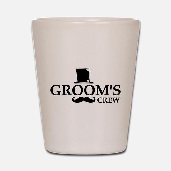 Mustache Groom's Crew Shot Glass