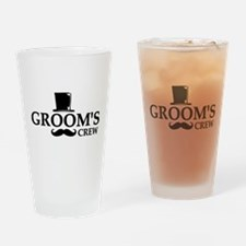Mustache Groom's Crew Drinking Glass