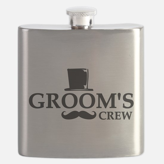 Mustache Groom's Crew Flask