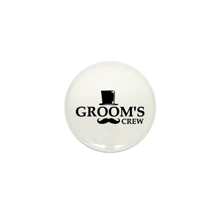 Mustache Groom's Crew Mini Button (10 pack)