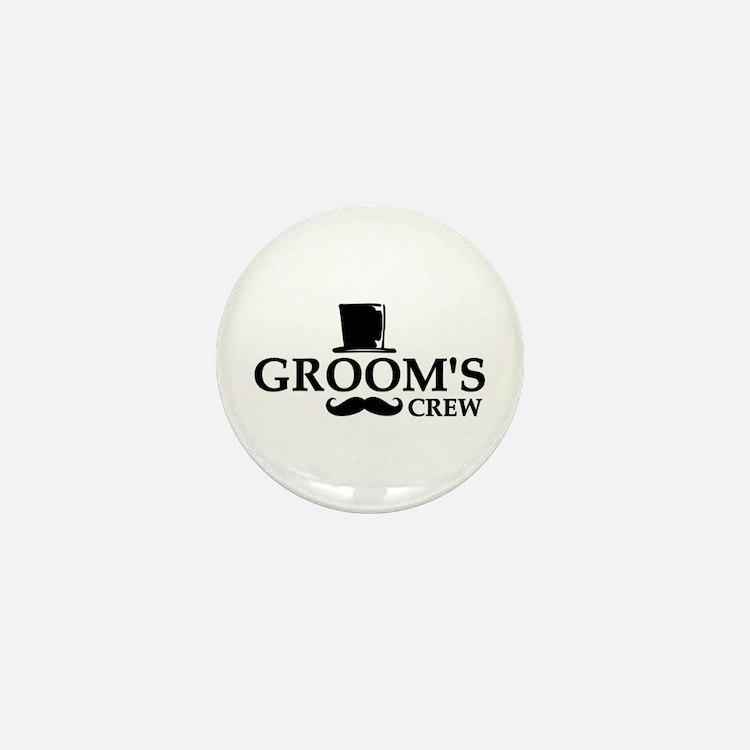 Mustache Groom's Crew Mini Button (10 pack)