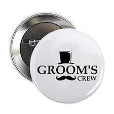 "Mustache Groom's Crew 2.25"" Button (10 pack)"