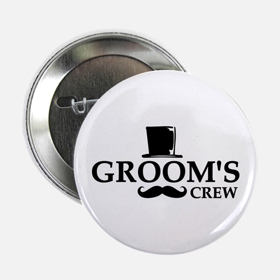 "Mustache Groom's Crew 2.25"" Button (10 pack)"