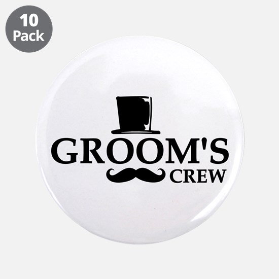 "Mustache Groom's Crew 3.5"" Button (10 pack)"