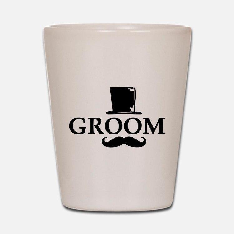 Mustache Groom Shot Glass