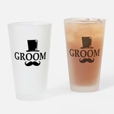 Mustache Groom Drinking Glass