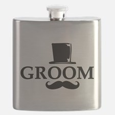Mustache Groom Flask