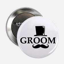 "Mustache Groom 2.25"" Button"