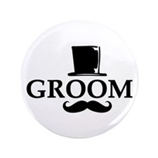 "Mustache Groom 3.5"" Button"