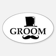 Mustache Groom Sticker (Oval)