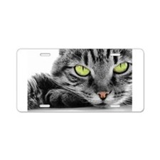 grey cat green eyes Aluminum License Plate