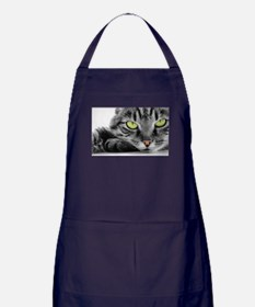 grey cat green eyes Apron (dark)