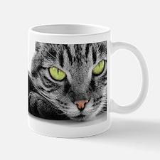 grey cat green eyes Mug