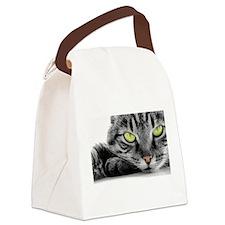 grey cat green eyes Canvas Lunch Bag