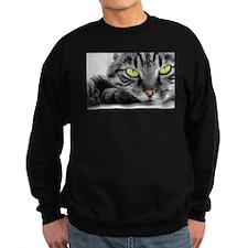 grey cat green eyes Sweatshirt