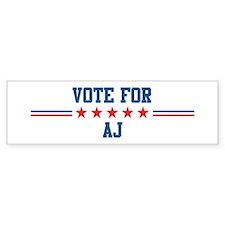 Vote for AJ Bumper Bumper Sticker