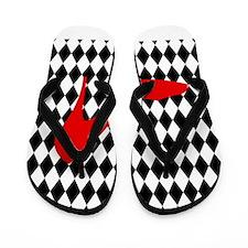 Red Heel on Black and White Diamonds Flip Flops