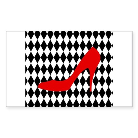 Red Heel on Black and White Diamonds Sticker (Rect