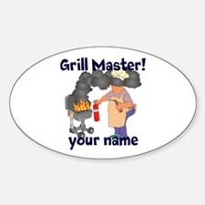 Personalized Grill Master Sticker (Oval)