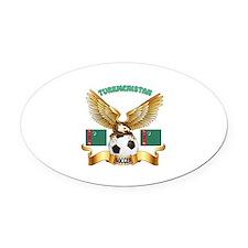 Turkmenistan Football Design Oval Car Magnet