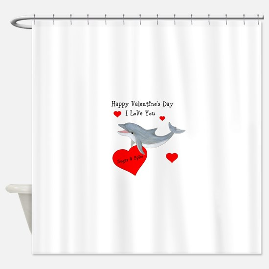Personalized Dolphin Valentine Shower Curtain