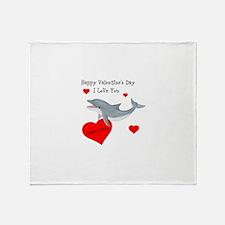 Personalized Dolphin Valentine Throw Blanket