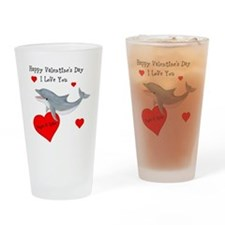 Personalized Dolphin Valentine Drinking Glass