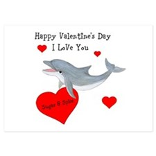 Personalized Dolphin Valentine 5x7 Flat Cards