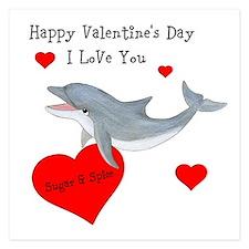 Personalized Dolphin Valentine 5.25 x 5.25 Flat Ca