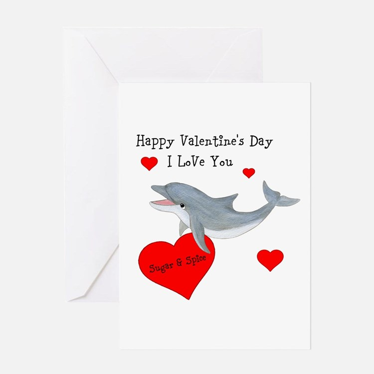 Personalized Dolphin Valentine Greeting Card