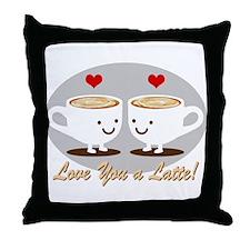 Cute! I Love You a LATTE! Throw Pillow