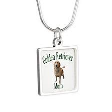 Golden Retriever Mom Silver Square Necklace