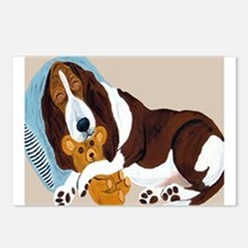 Basset Asleep With Teddy Postcards (Package of 8)