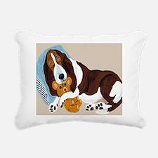 Basset Asleep With Teddy Rectangular Canvas Pillow