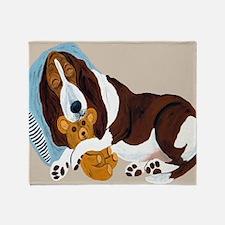Basset Asleep With Teddy Throw Blanket