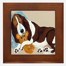 Basset Asleep With Teddy Framed Tile