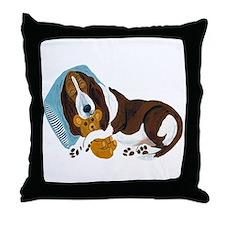 Basset Asleep With Teddy Throw Pillow