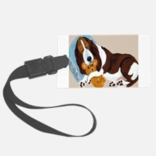 Basset Asleep With Teddy Luggage Tag