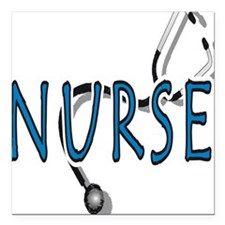 "Nurse logo Square Car Magnet 3"" x 3"""