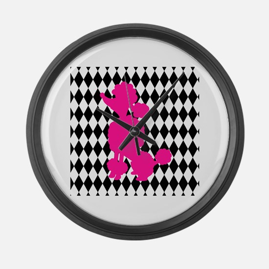 Hot Pink Poodle on Black and White Diamonds Large